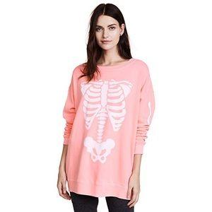 Wildfox Pink Skeleton Halloween Sweatshirt